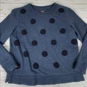 Boden Crewneck Sweatshirt Blue Polka Dot Large